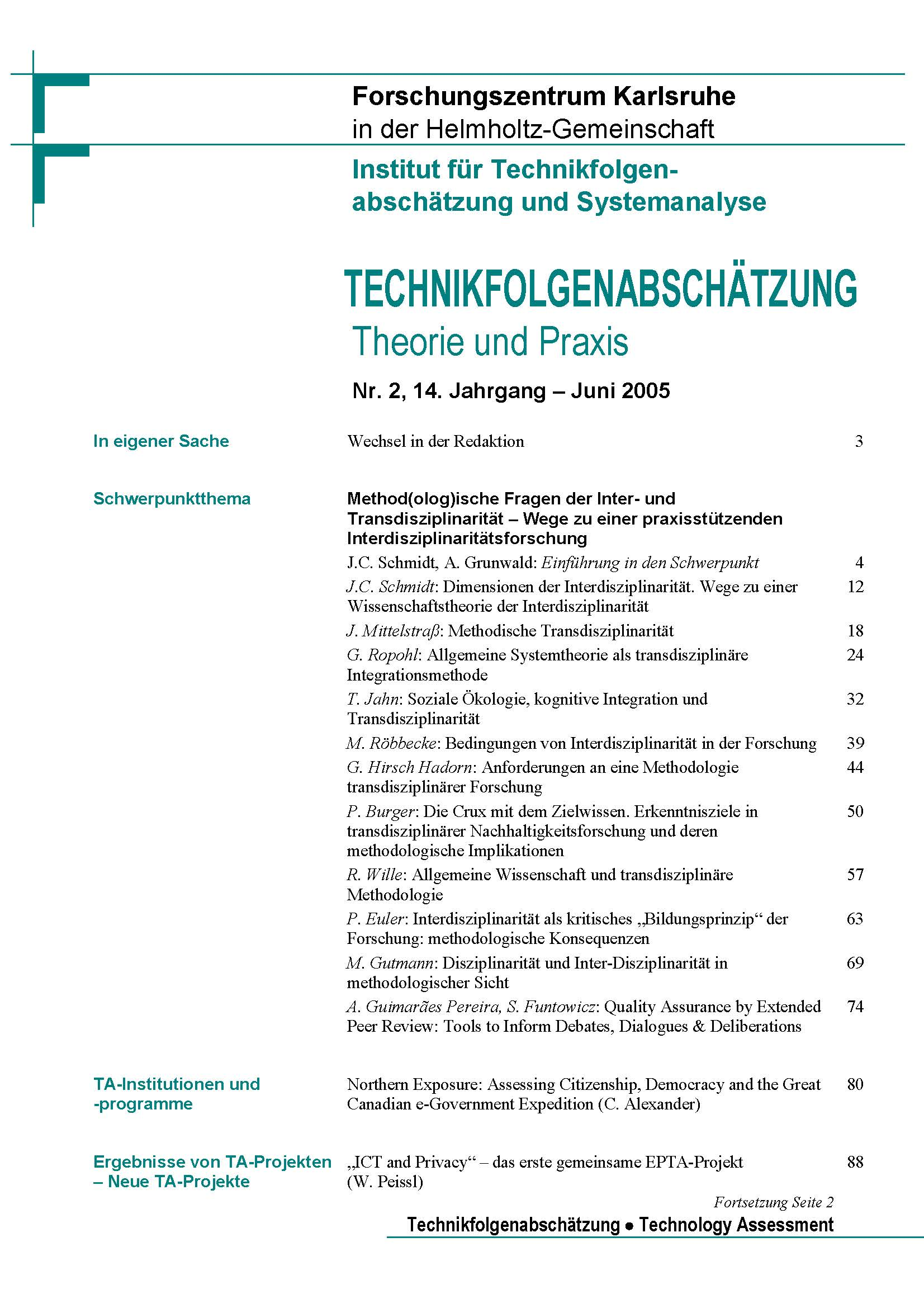 View Vol. 14 No. 2 (2005): Method(olog)ische Fragen der Inter- und Transdisziplinarität