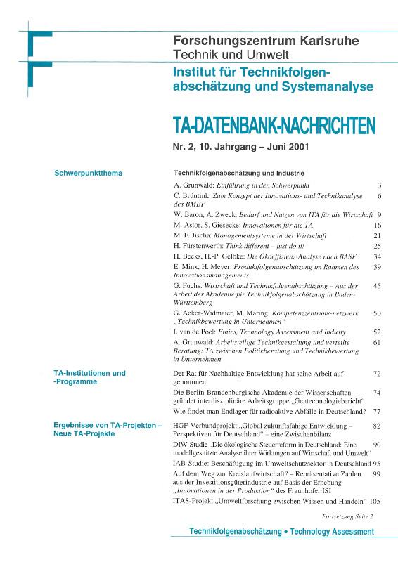 View Vol. 10 No. 2 (2001): Technikfolgenabschätzung und Industrie