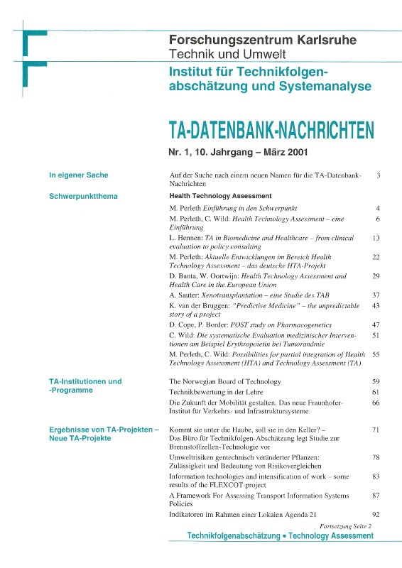 View Vol. 10 No. 1 (2001): Health Technology Assessment