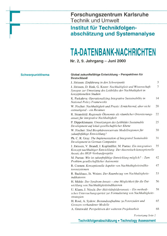 View Vol. 9 No. 2 (2000): Global zukunftsfähige Entwicklung – Perspektiven für Deutschland