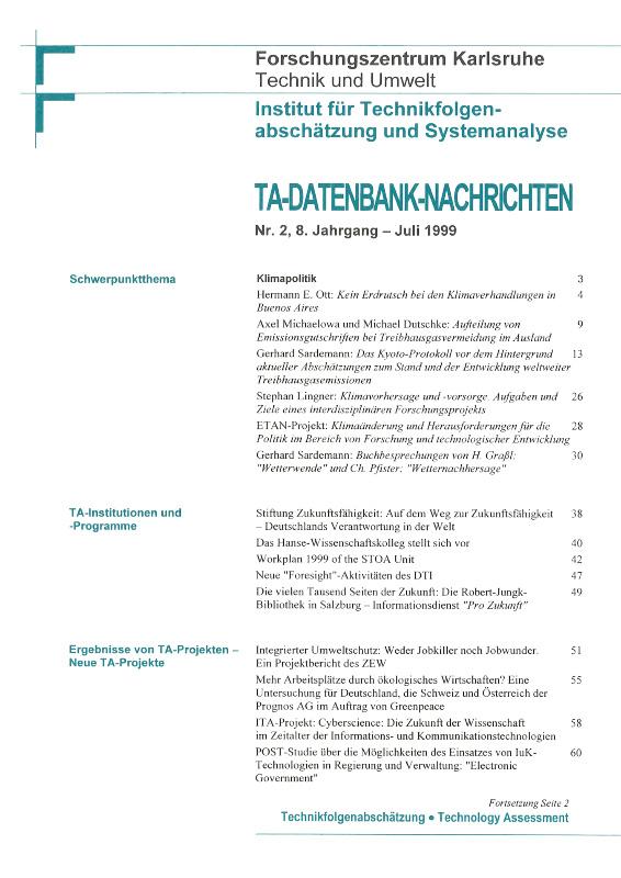 View Vol. 8 No. 2 (1999): Klimapolitik