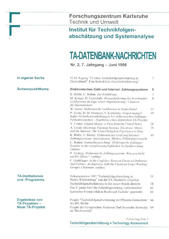 View Vol. 7 No. 2 (1998): Elektronisches Geld und Internet-Zahlungssysteme