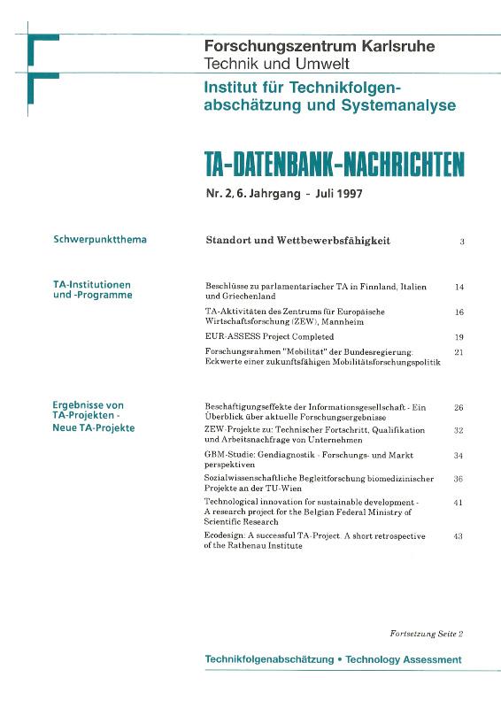 View Vol. 6 No. 2 (1997): Standort und Wettbewerbsfähigkeit