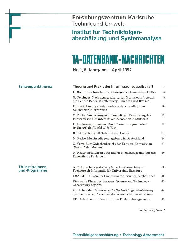 View Vol. 6 No. 1 (1997): Theorie und Praxis der Informationsgesellschaft