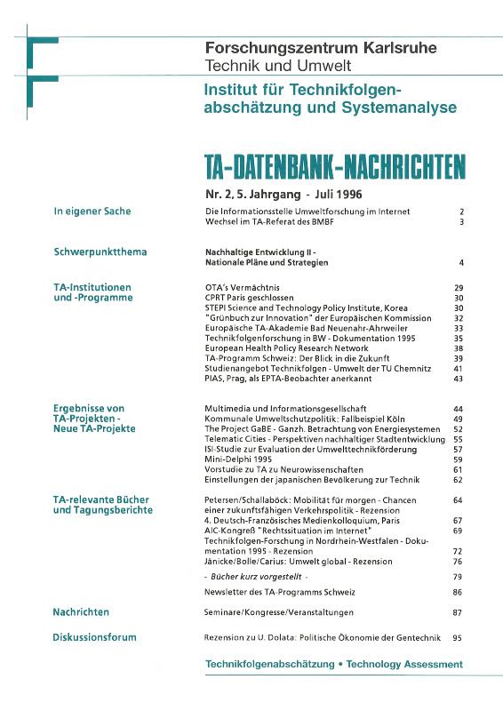 View Vol. 5 No. 2 (1996): Nachhaltige Entwicklung II – nationale Pläne und Strategien