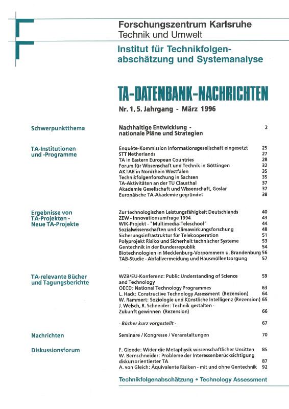 View Vol. 5 No. 1 (1996): Nachhaltige Entwicklung – nationale Pläne und Strategien