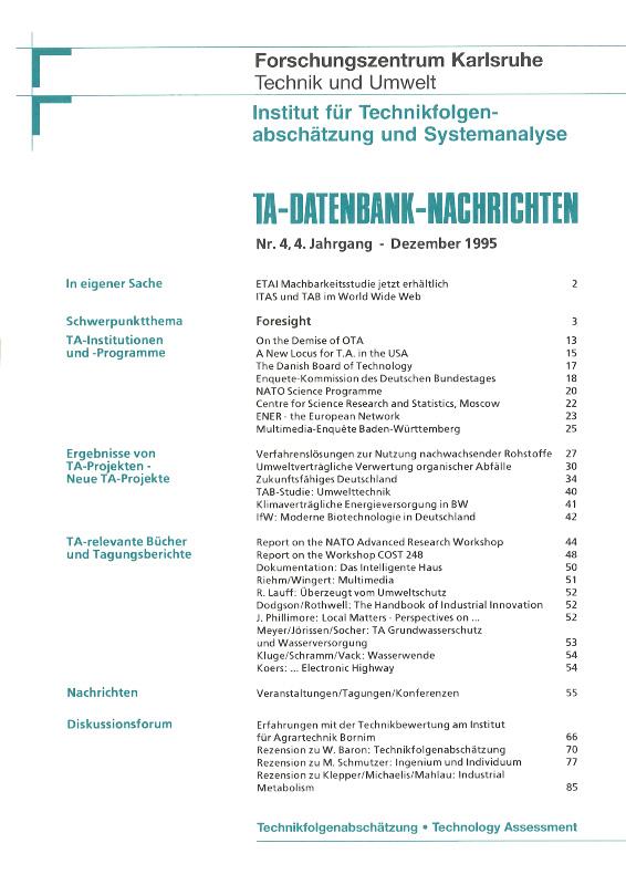 View Vol. 4 No. 4 (1995): Technologievorausschau und Technologiebeobachtung