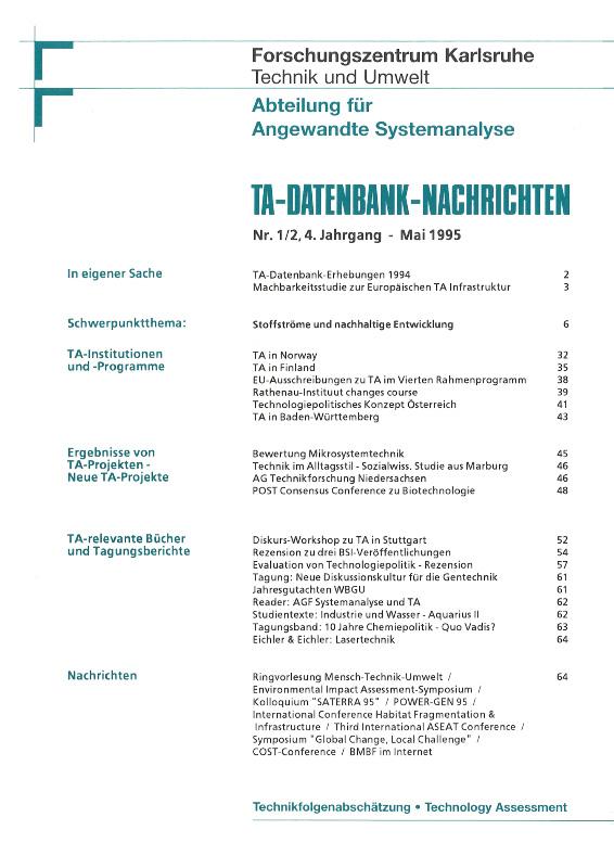 View Vol. 4 No. 1-2 (1995): Stoffströme und nachhaltige Entwicklung