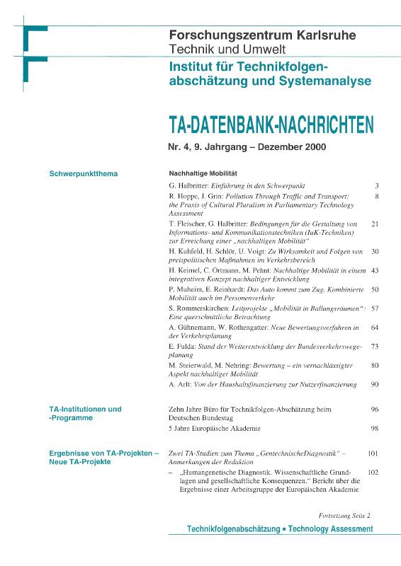 View Vol. 9 No. 4 (2000): Nachhaltige Mobilität