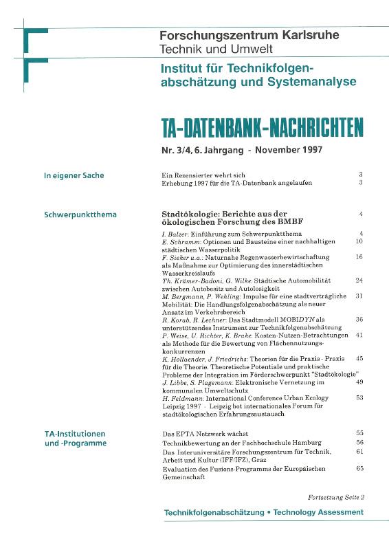 View Vol. 6 No. 3-4 (1997): Stadtökologie - Berichte aus der ökologischen Forschung des BMBF