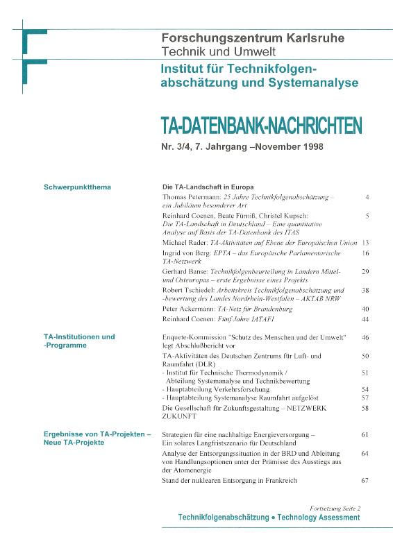 View Vol. 7 No. 3-4 (1998): Die TA-Landschaft in Europa