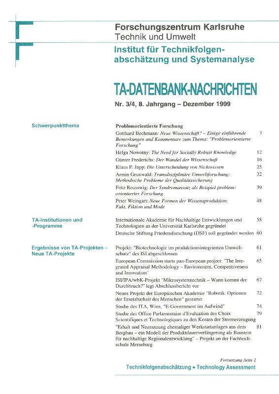 View Vol. 8 No. 3-4 (1999): Problemorientierte Forschung