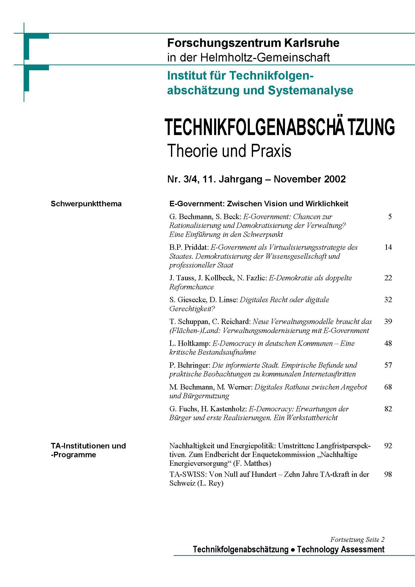 View Vol. 11 No. 3-4 (2002): E-Government - Zwischen Vision und Wirklichkeit