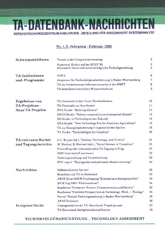 View Vol. 2 No. 1 (1993): Trends in der Computeranwendung