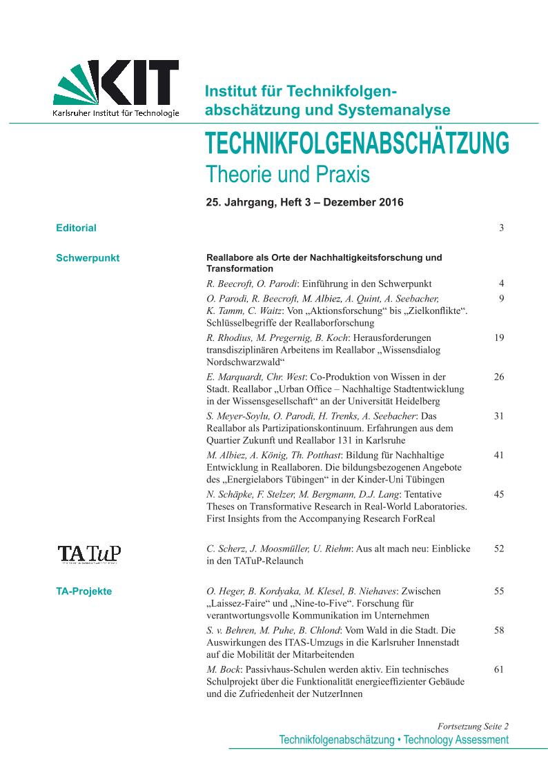 View Vol. 25 No. 3 (2016): Reallabore als Orte der Nachhaltigkeitsforschung und Transformation