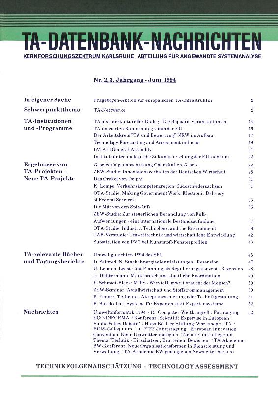 View Vol. 3 No. 2 (1994): TA-Netzwerke