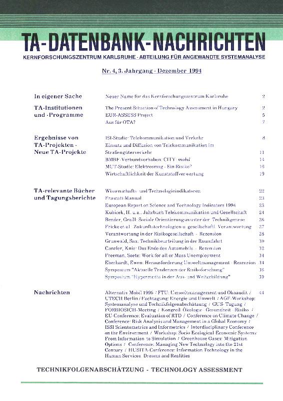 View Vol. 3 No. 4 (1994): TA-Datenbank-Nachrichten