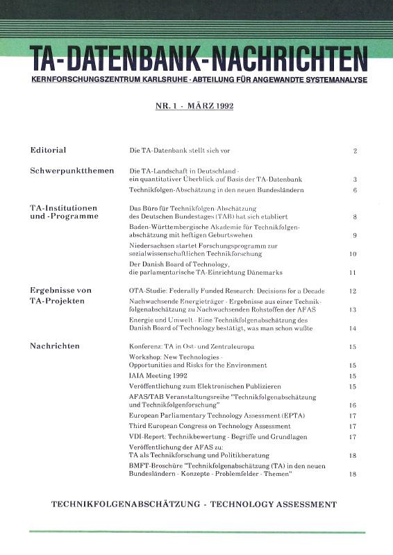 View Vol. 1 No. 1 (1992): Die TA-Landschaft in Deutschland - ein quantitativer Überblick auf Basis der TA-Datenbank
