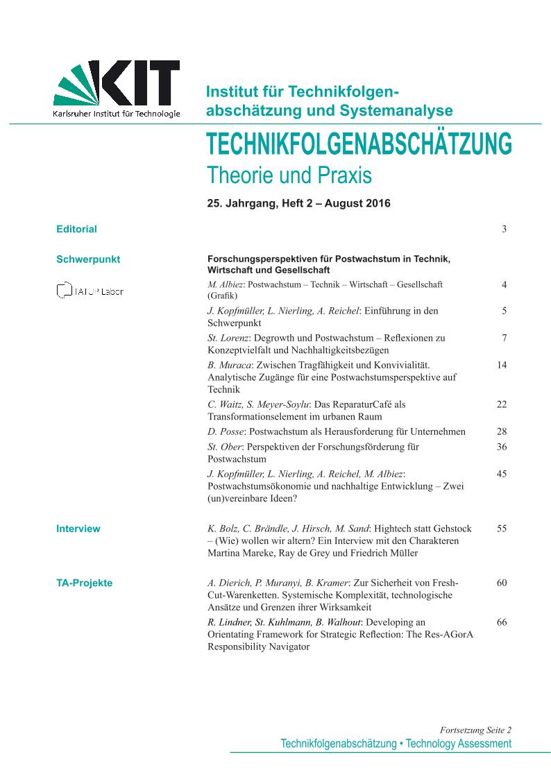 View Vol. 25 No. 2 (2016): Forschungsperspektiven für Postwachstum in Technik, Wirtschaft und Gesellschaft