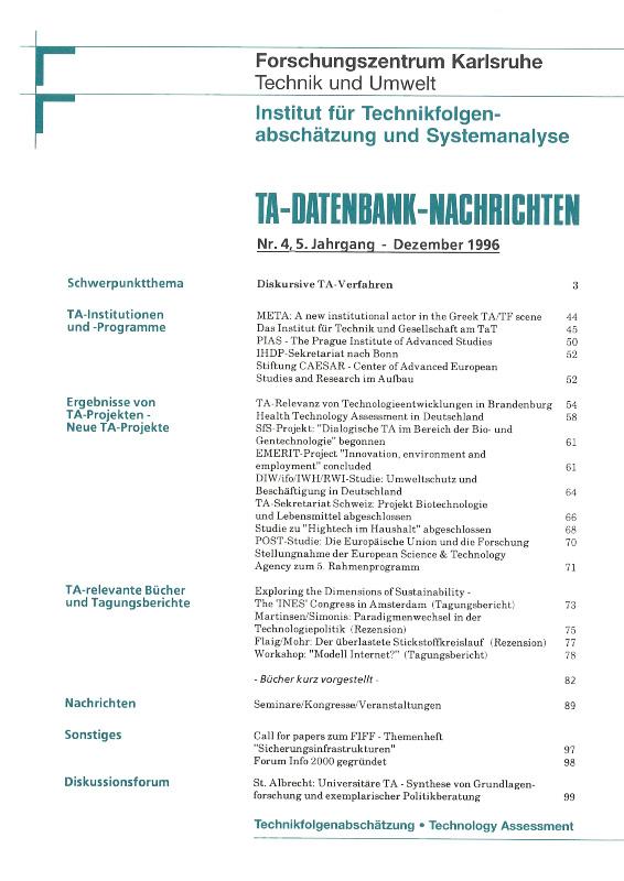 View Vol. 5 No. 4 (1996): Diskursive TA-Verfahren
