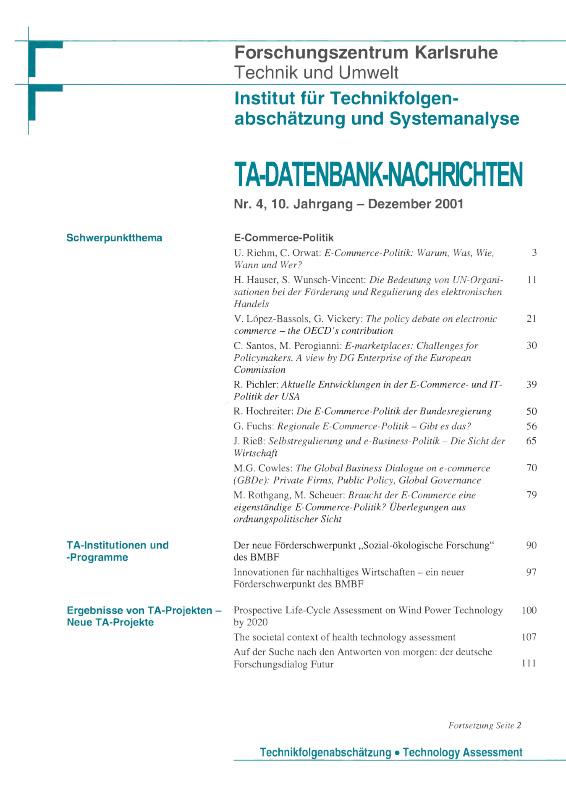 View Vol. 10 No. 4 (2001): E-Commerce-Politik