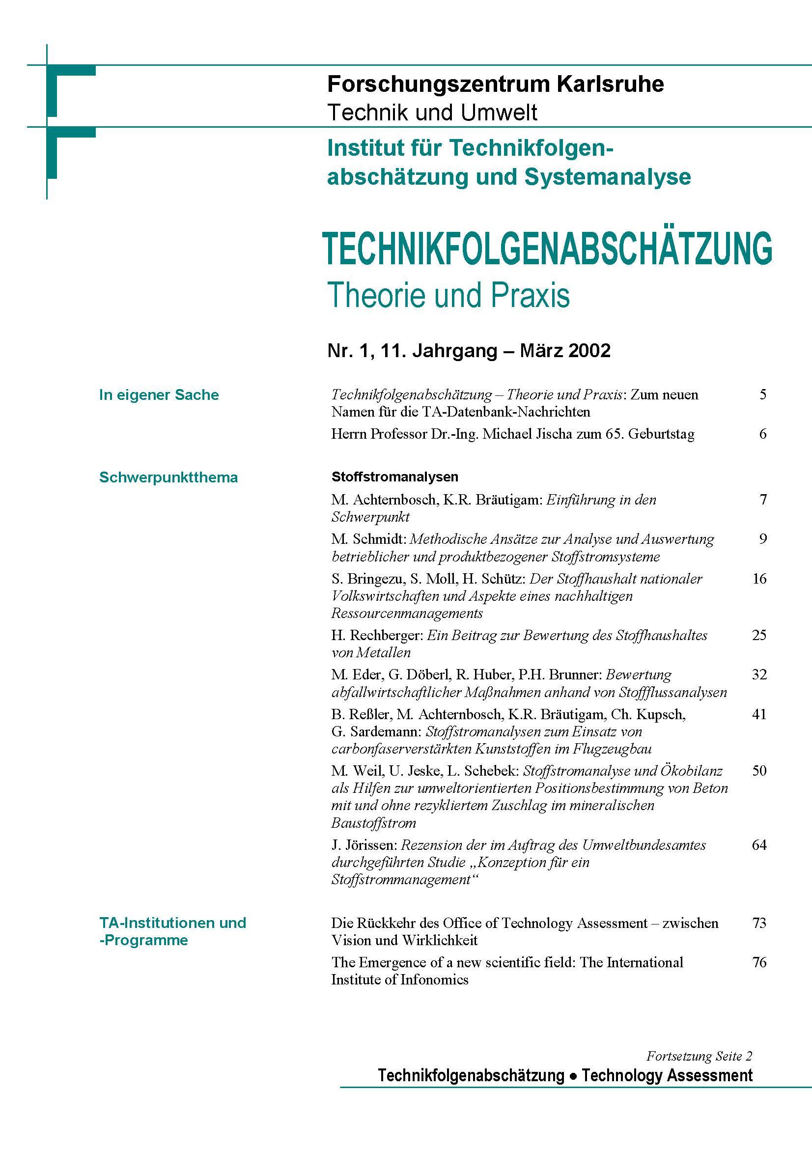 View Vol. 11 No. 1 (2002): Stoffstromanalysen