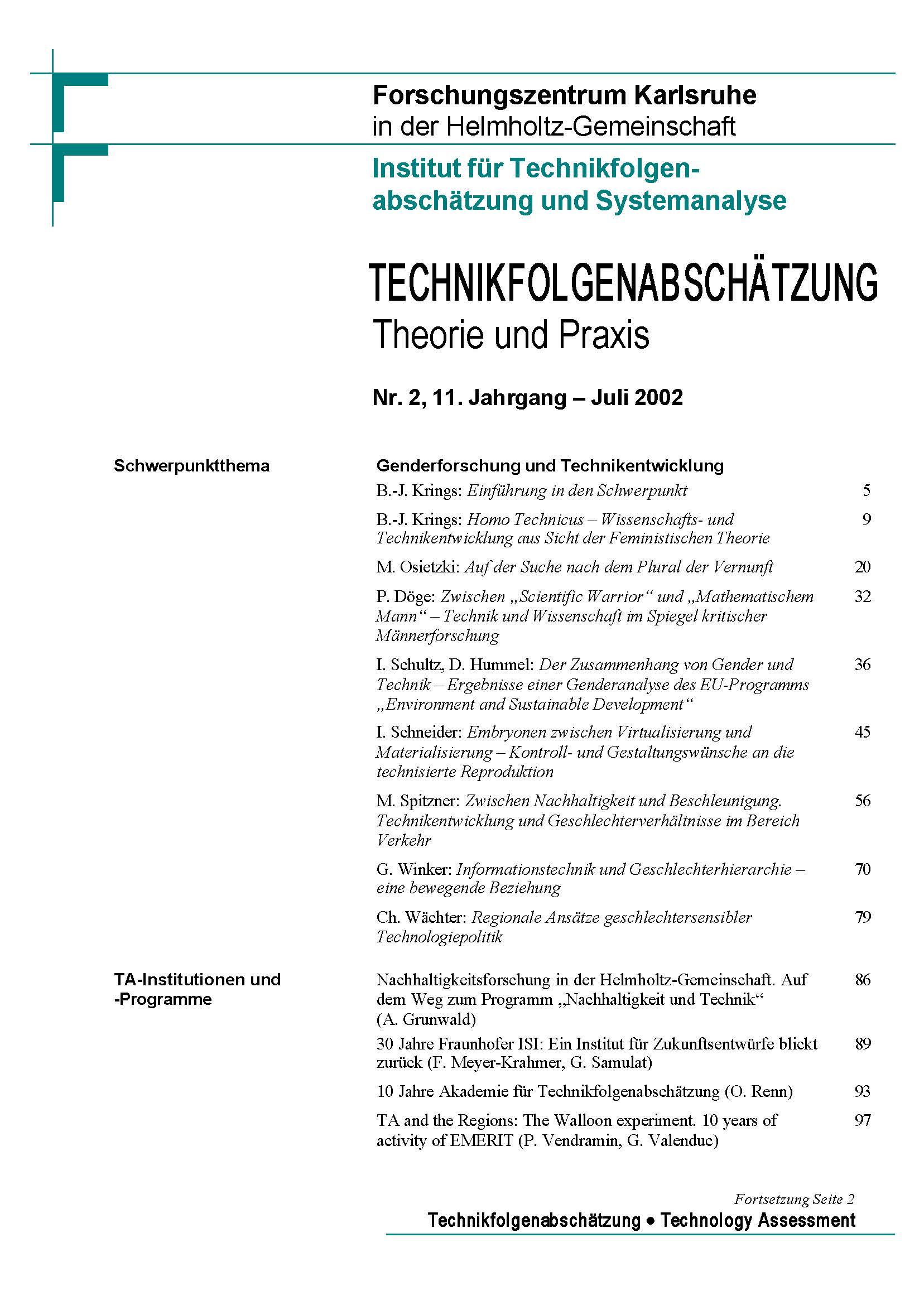 View Vol. 11 No. 2 (2002): Genderforschung und Technikentwicklung