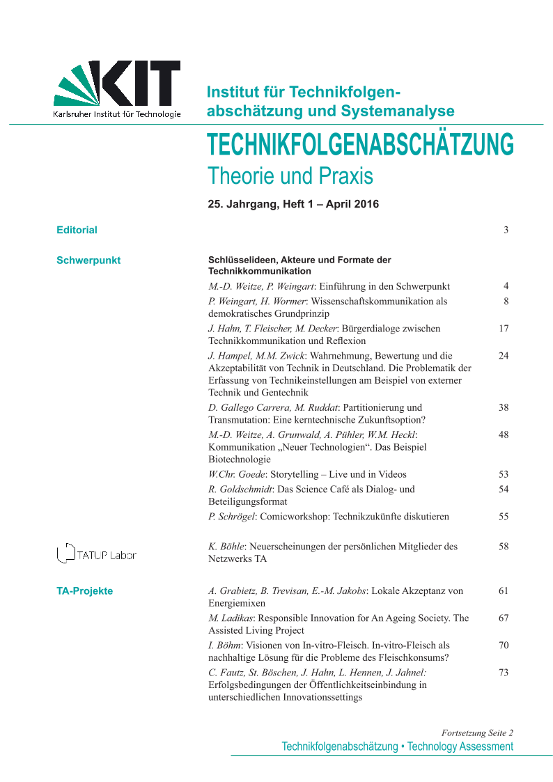 View Vol. 25 No. 1 (2016): Schlüsselideen, Akteure und Formate der Technikkommunikation