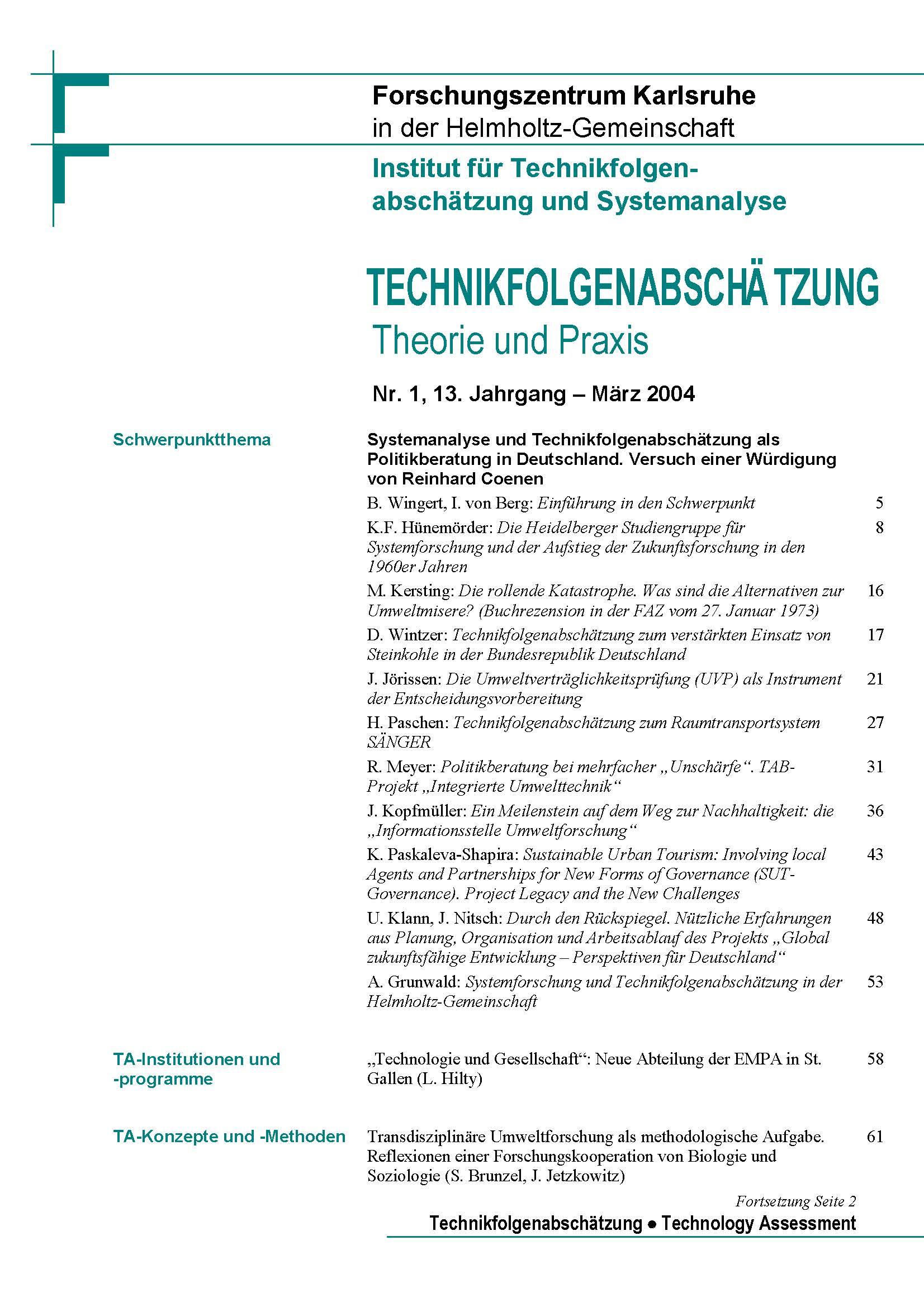 View Vol. 13 No. 1 (2004): Systemanalyse und Technikfolgenabschätzung als Politikberatung in Deutschland