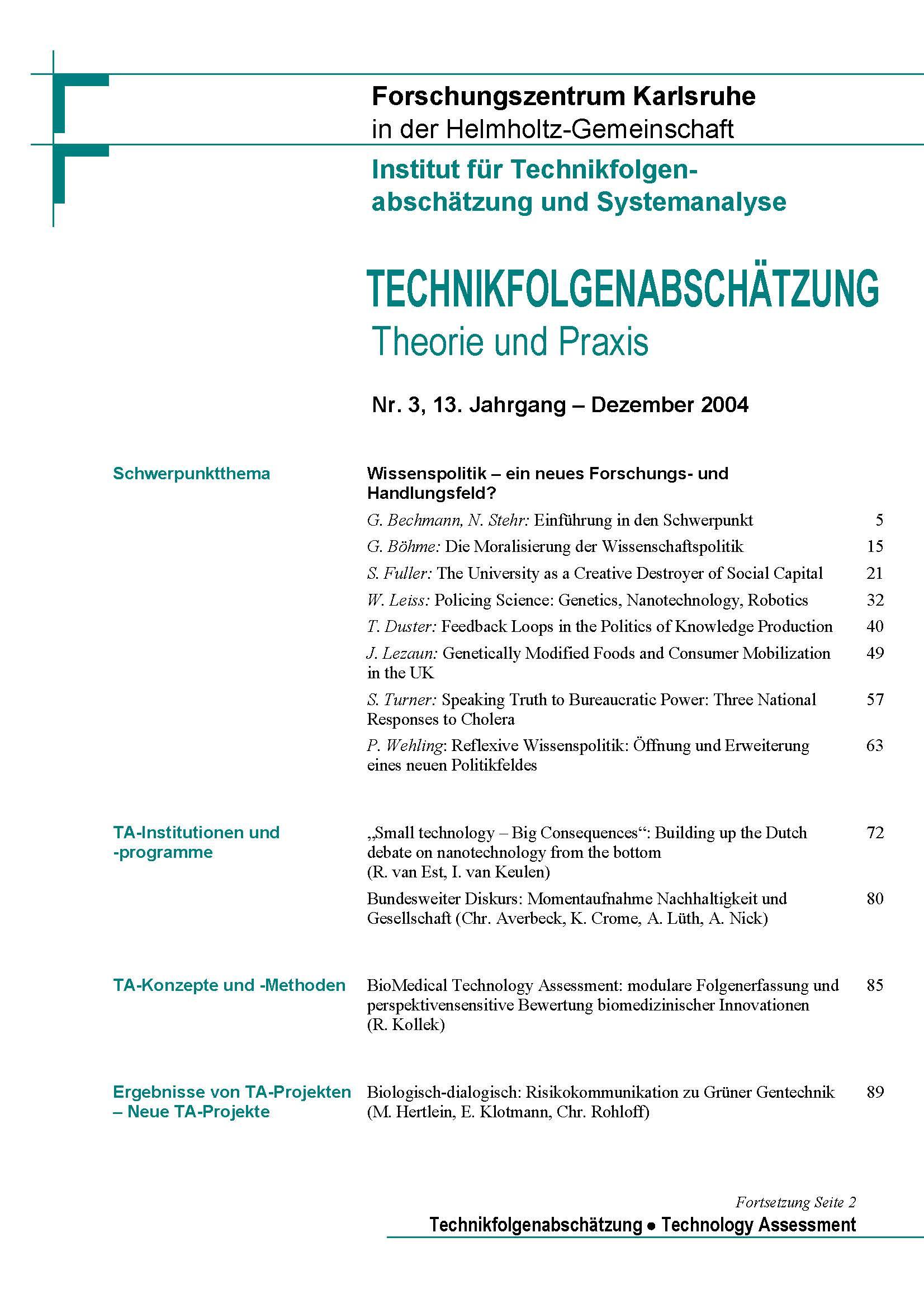View Vol. 13 No. 3 (2004): Wissenspolitik – ein neues Forschungs- und Handlungsfeld?