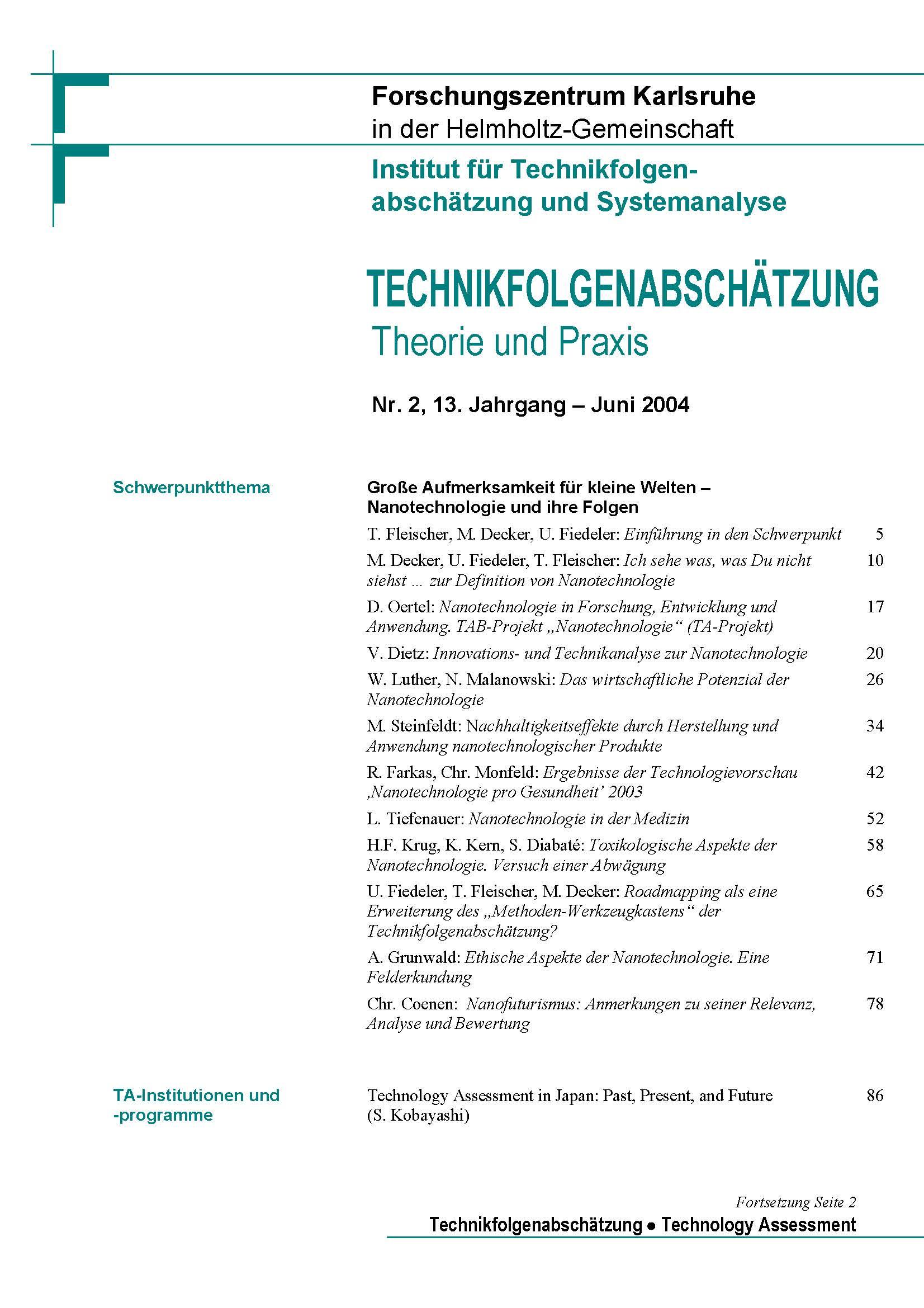 View Vol. 13 No. 2 (2004): Große Aufmerksamkeit für kleine Welten – Nanotechnologie und ihre Folgen