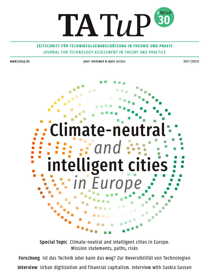 View Vol. 30 No. 1 (2021): Climate-neutral and intelligent cities in Europe. Mission statements, paths, risks