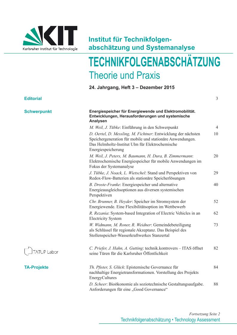 View Vol. 24 No. 3 (2015): Energiespeicher für die Energiewende – Entwicklungen, Herausforderungen und systemische Analysen
