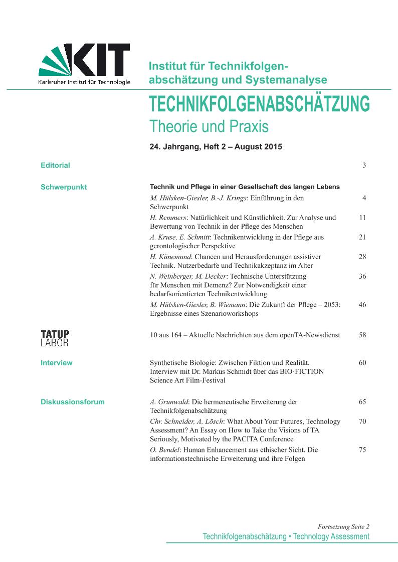View Vol. 24 No. 2 (2015): Technik und Pflege in einer Gesellschaft des langen Lebens