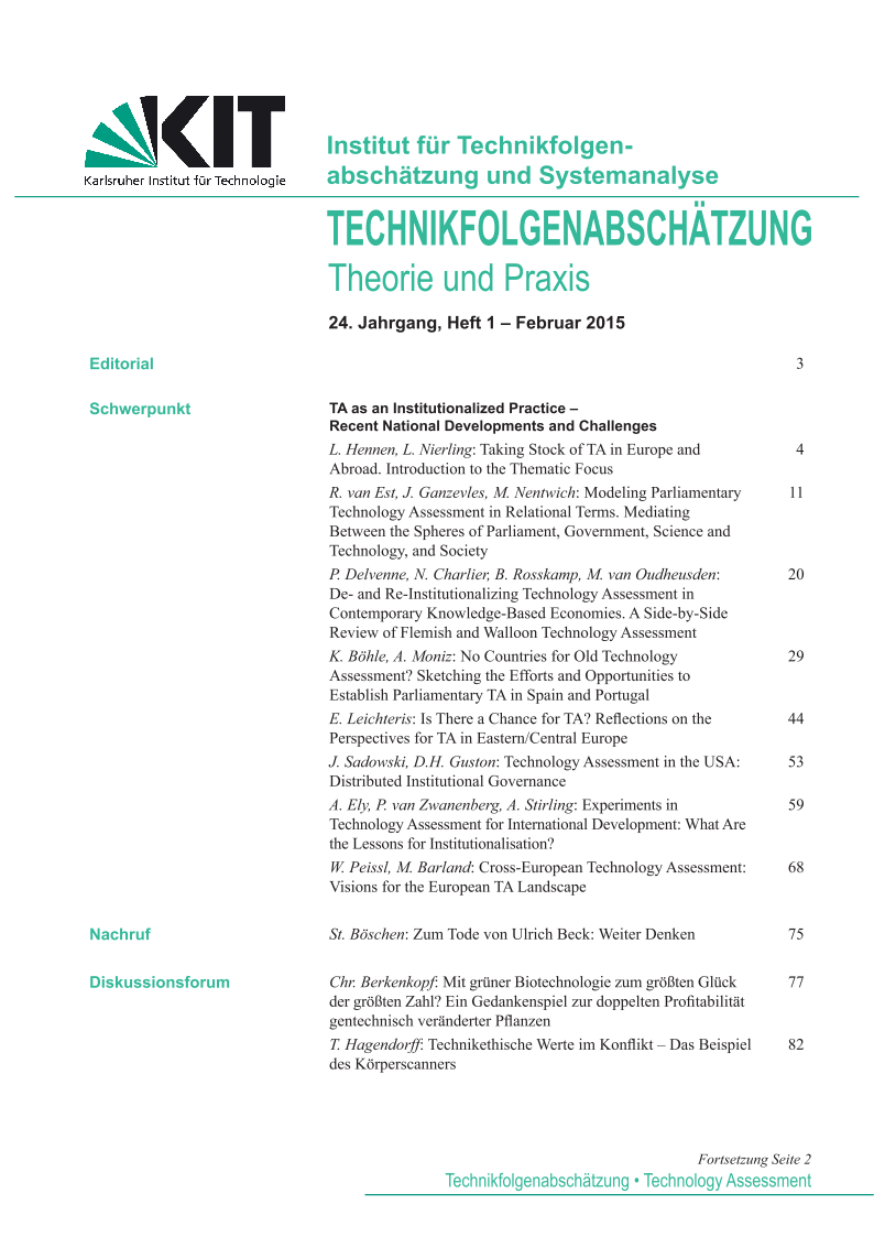 View Vol. 24 No. 1 (2015): TA as an Institutionalized Practice – Recent National Developments and Challenges