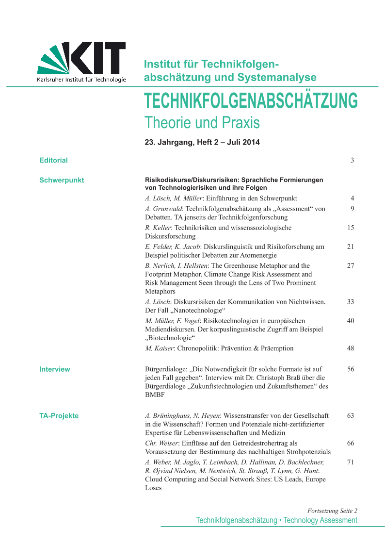 View Vol. 23 No. 2 (2014): Risikodiskurse/Diskursrisiken - Sprachliche Formierungen von Technologierisiken und ihre Folgen