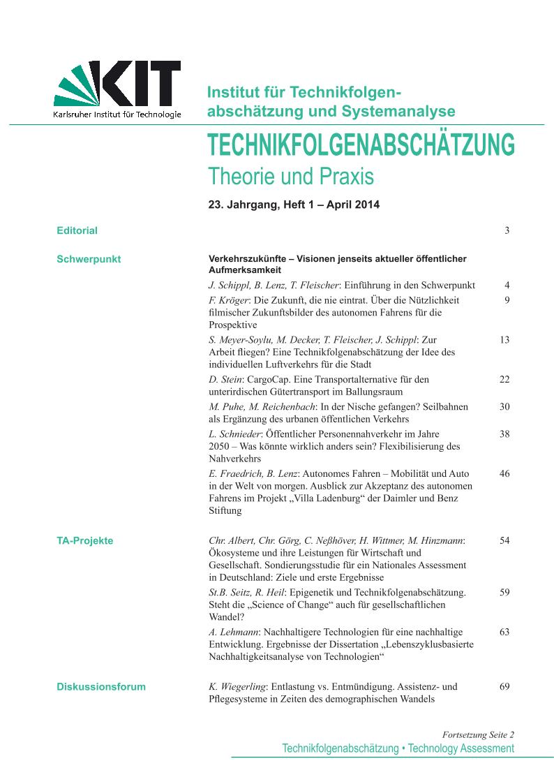 View Vol. 23 No. 1 (2014): Verkehrszukünfte – Visionen jenseits aktueller öffentlicher Aufmerksamkeit
