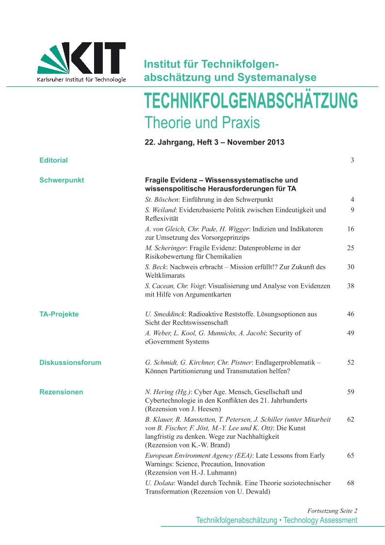 View Vol. 22 No. 3 (2013): Fragile Evidenz – Wissenssystematische und wissenspolitische Herausforderungen für TA