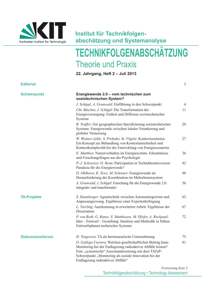 View Vol. 22 No. 2 (2013): Energiewende 2.0 – vom technischen zum soziotechnischen System?