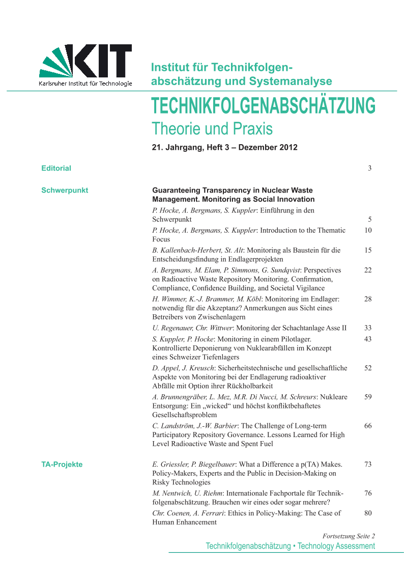 View Vol. 21 No. 3 (2012): Guaranteeing Transparency in Nuclear Waste Management