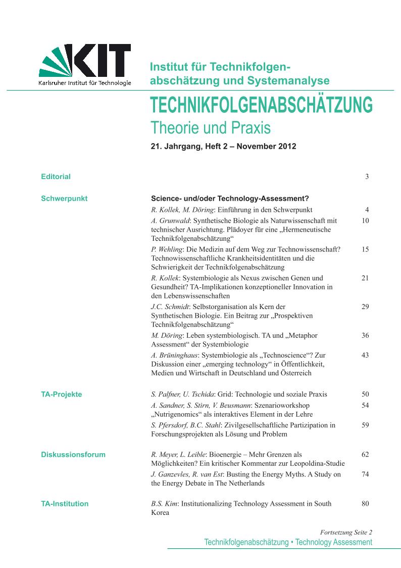 View Vol. 21 No. 2 (2012): Science- und/oder Technology-Assessment?
