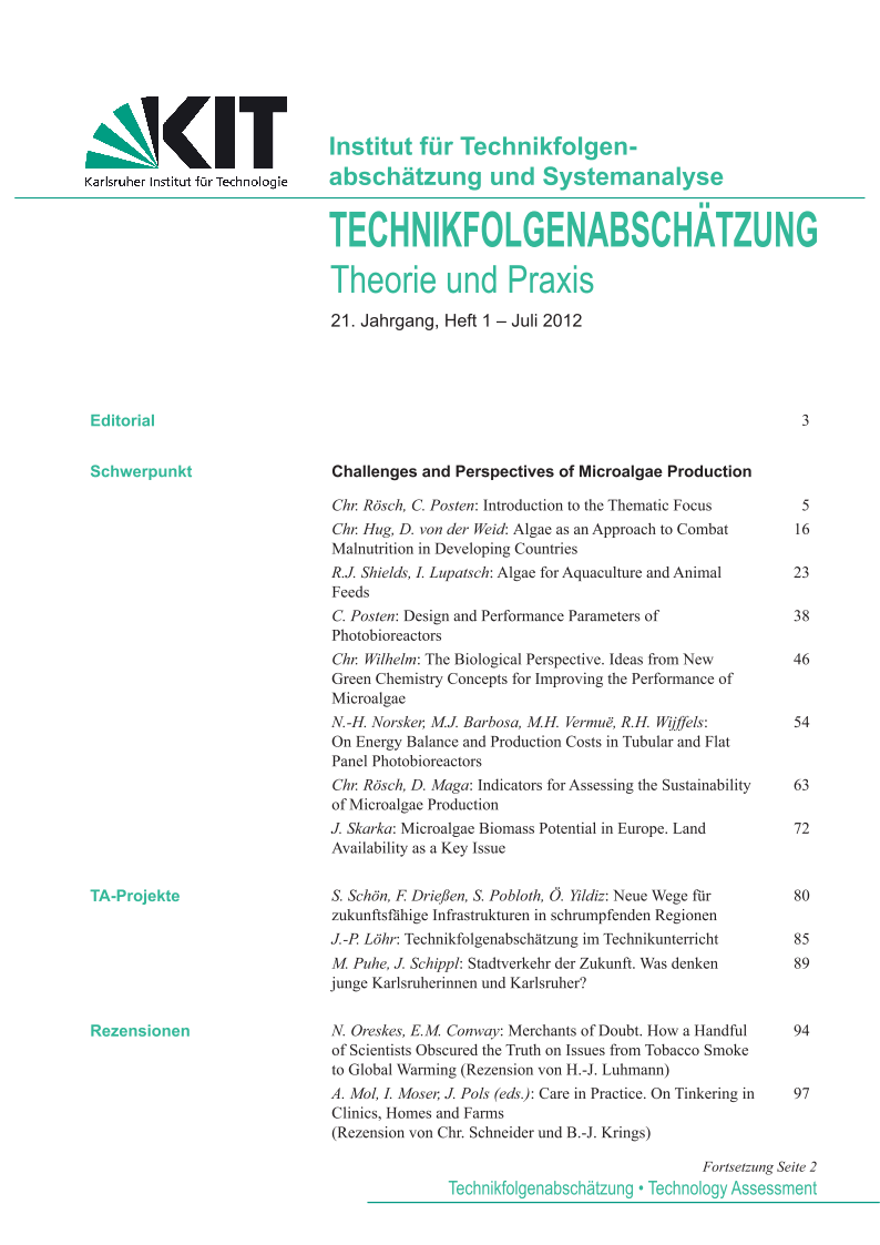 View Vol. 21 No. 1 (2012): Challenges and Perspectives of Microalgae Production
