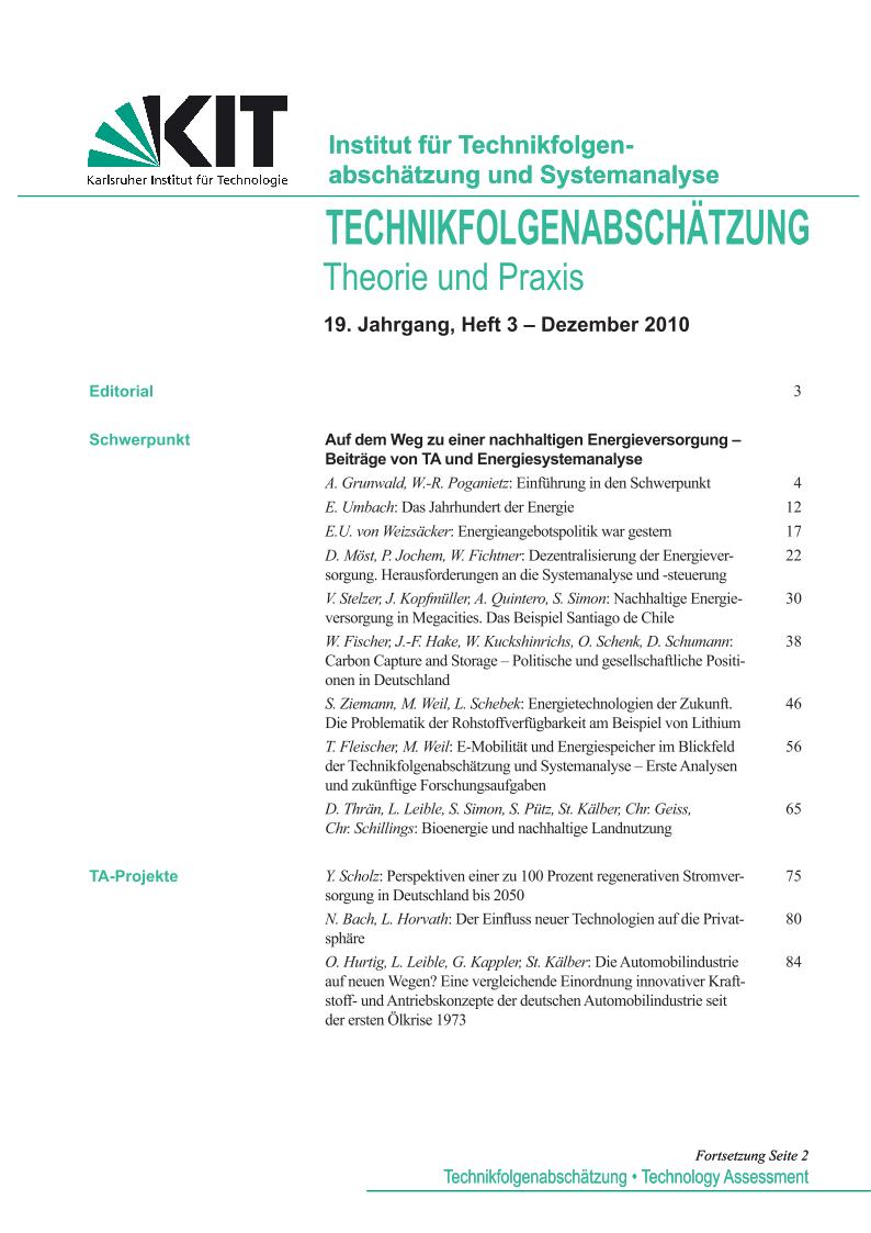 View Vol. 19 No. 3 (2010): Auf dem Weg zu einer nachhaltigen Energieversorgung