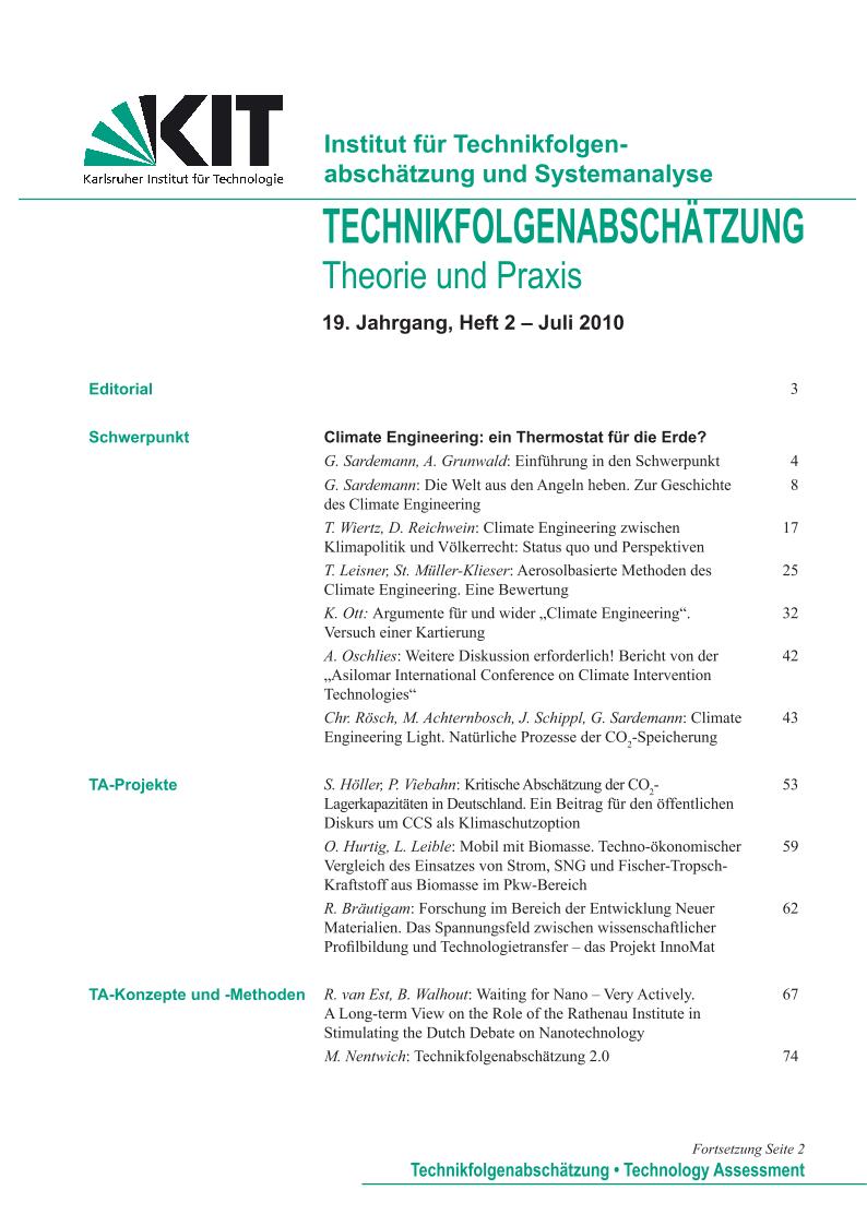 View Vol. 19 No. 2 (2010): Climate Engineering - ein Thermostat für die Erde?