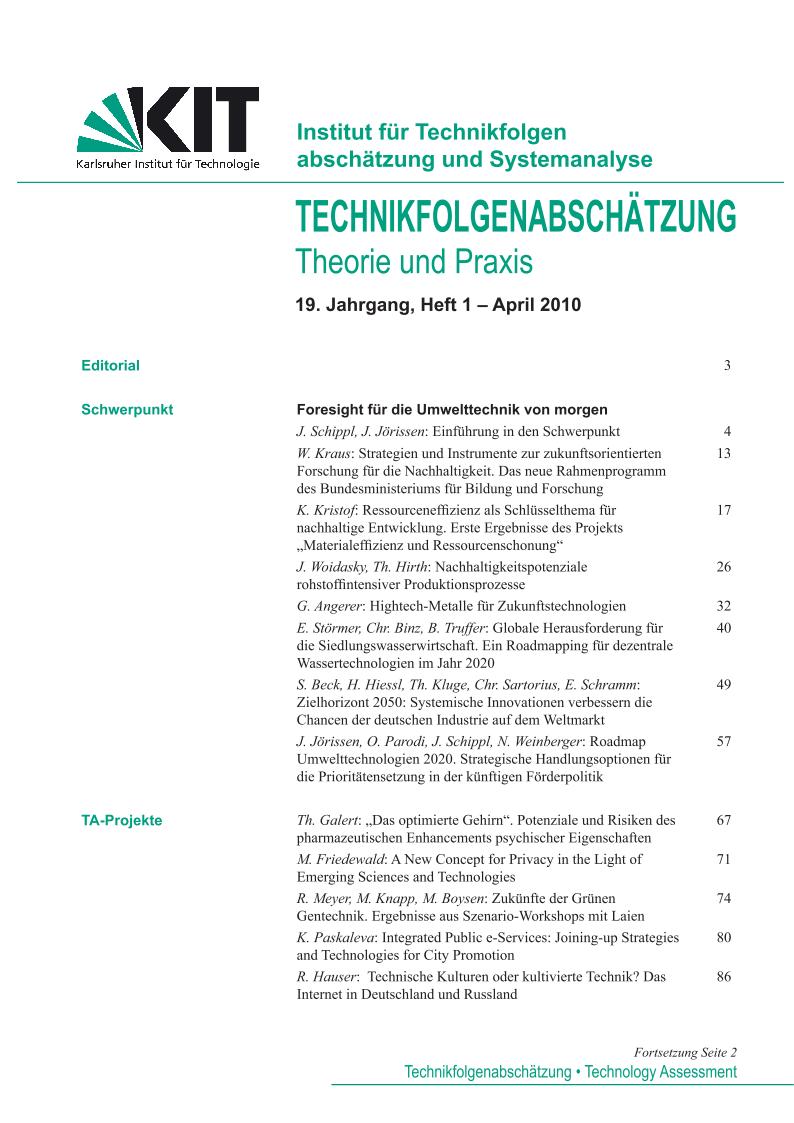 View Vol. 19 No. 1 (2010): Foresight für die Umwelttechnik von morgen