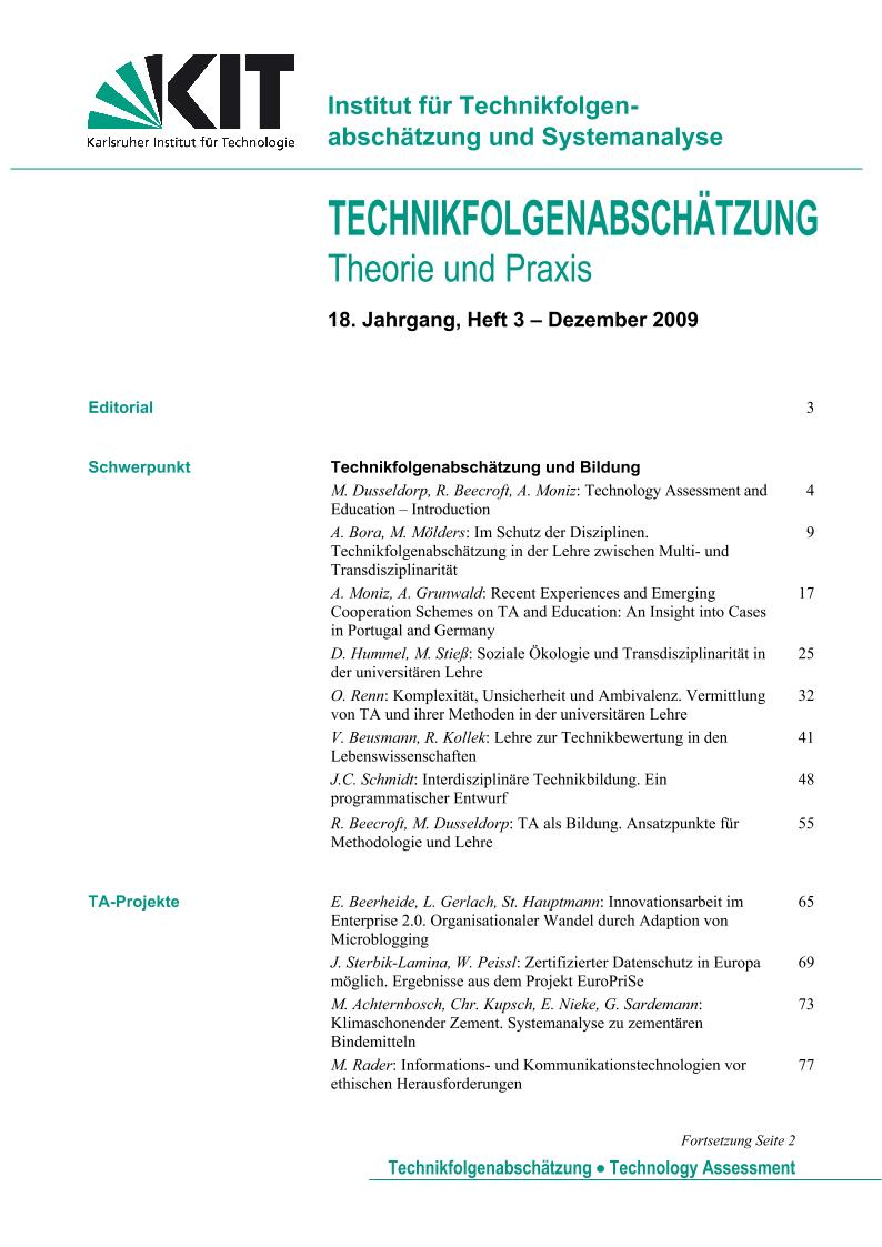 View Vol. 18 No. 3 (2009): Technikfolgenabschätzung und Bildung