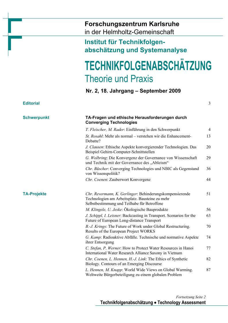 View Vol. 18 No. 2 (2009): TA-Fragen und ethische Herausforderungen durch Converging Technologies