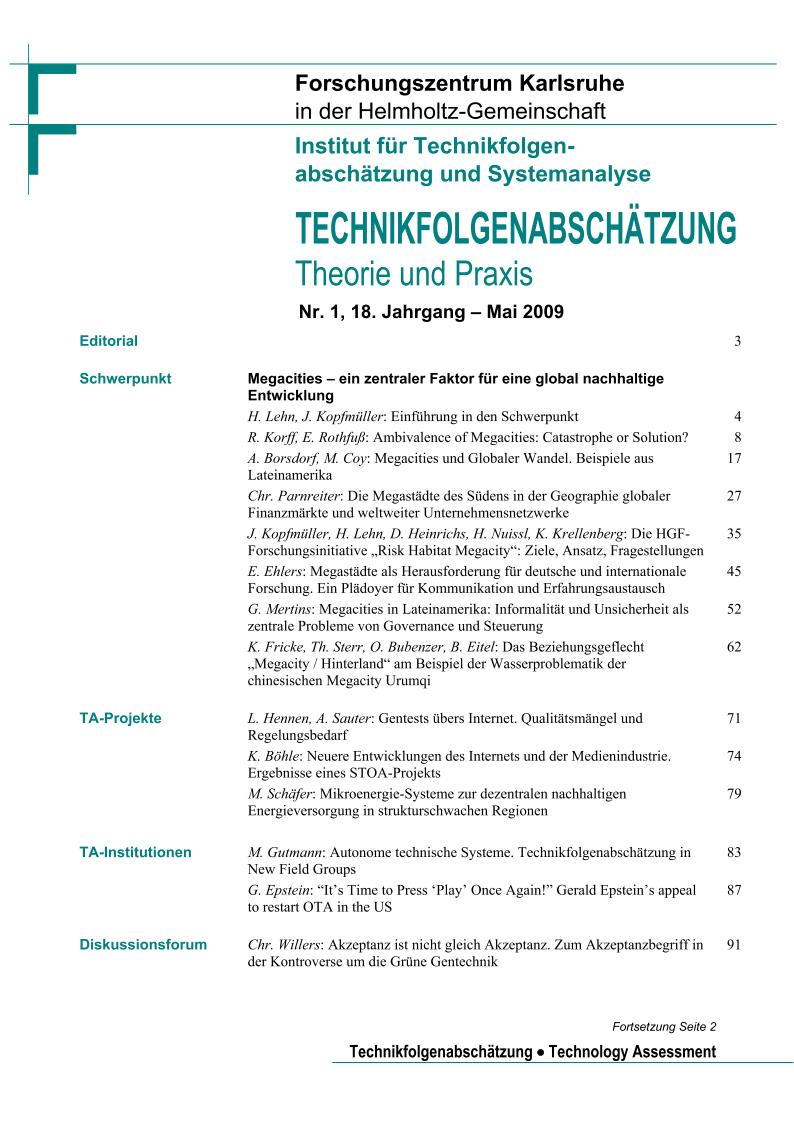 View Vol. 18 No. 1 (2009): Megacities – ein zentraler Faktor für eine global nachhaltige Entwicklung