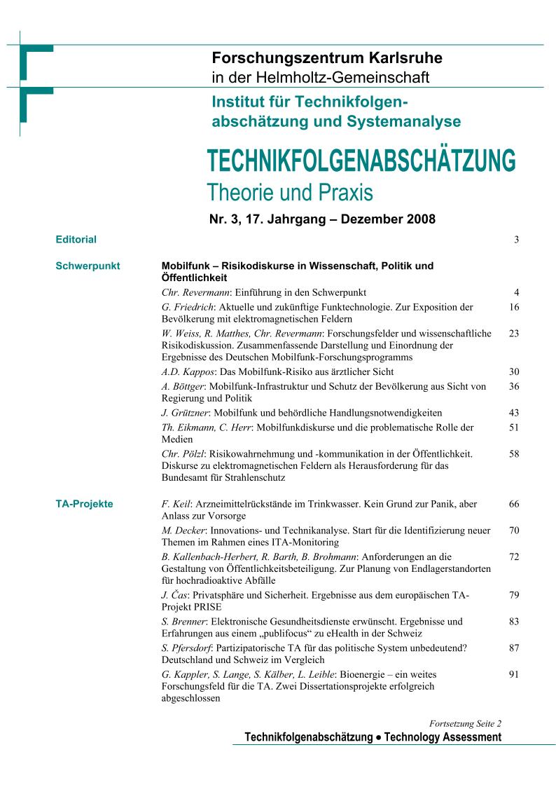 View Vol. 17 No. 3 (2008): Mobilfunk - Risikodiskurse in Wissenschaft, Politik und Öffentlichkeit