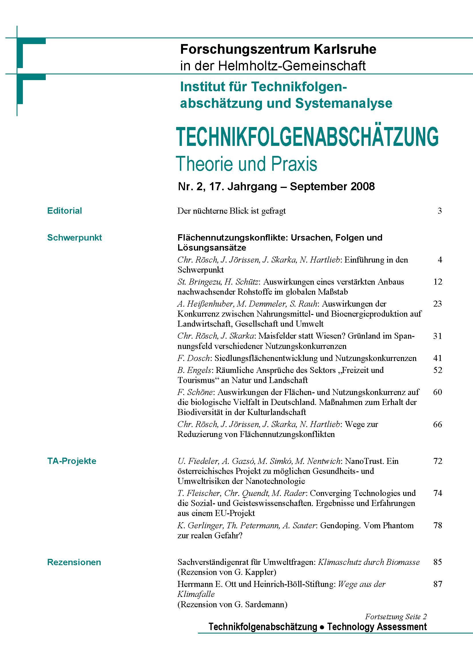 View Vol. 17 No. 2 (2008): Flächennutzungskonflikte – Ursachen, Folgen und Lösungsansätze